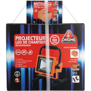 Projecteur LED de chantier rechargeable 2 batteries-6