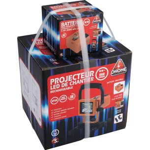 Projecteur LED de chantier rechargeable 2 batteries-7
