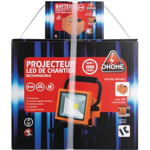 Projecteur LED de chantier rechargeable 2 batteries-5