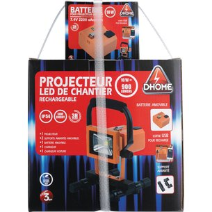Projecteur LED de chantier rechargeable 2 batteries-10