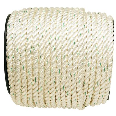 Cordage polyamide nylon blanc liseré vert Corderies Tournonaises - Longueur