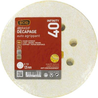 Disque abrasif auto-agrippant SCID - 8 trous - Grain 80 - Diamètre 125 mm -