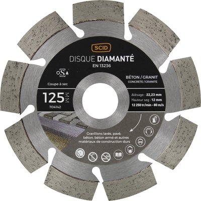 Disque diamant béton granit professionnel - Diamètre 125 mm