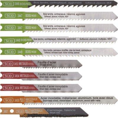 Assortiment 10 lames de scie sauteuse accroche en U SCID - Chrome vanadium