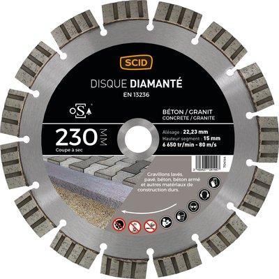 Disque diamant béton granit professionnel longevité - Diamètre 230 mm