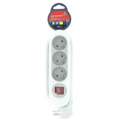 Bloc multiprise bi-color gris/blanc Dhome - 3 x 2P+T - Avec interrupteur