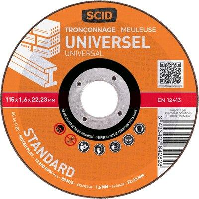 Disque à tronçonner moyeu plat universel standard - Diamètre 125 mm