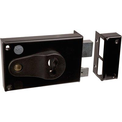 Serrure en applique noire droite à fouillot - Clé I - Axe de 52 à 70 mm - S