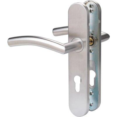Poignée de porte sur plaque inox - Clé I - C19 - Normbau