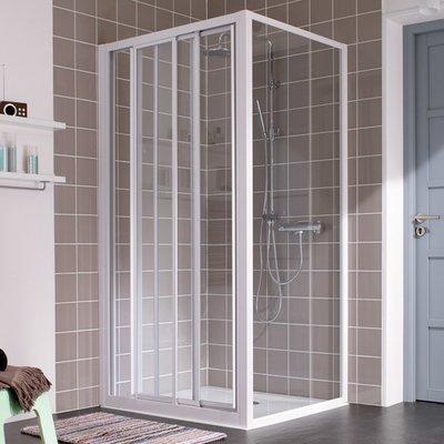 Porte de douche coulissante verre transparent - 3 vantaux - 870 à 900 mm -