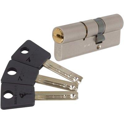 Cylindre 2 entrées varié nickelé - 33 x 33 mm - Sytème 7 x 7 - Mul-T-lock