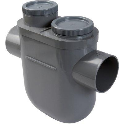 Siphon de parcours PVC gris vertical - Mâle / femelle - Ø 100 mm - Nicoll