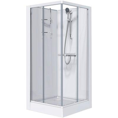 Cabine de douche carrée portes coulissantes granitées - 80 x 80 cm - Izi Gl