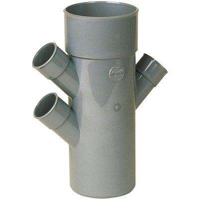 Raccord PVC gris triple équerre 45° - Ø 40 - 40 - 100 - 40 mm - Quadruple e