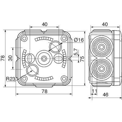 Boîte grise carrée - 80 mm - 7 embouts - Couvercle enclipsable - Plexo - Le