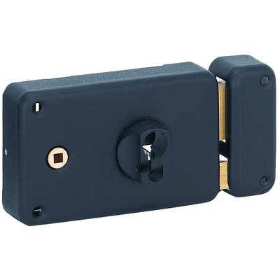 Serrure en applique noire gauche à fouillot - Clé I - Axe à 60 mm - Classiq
