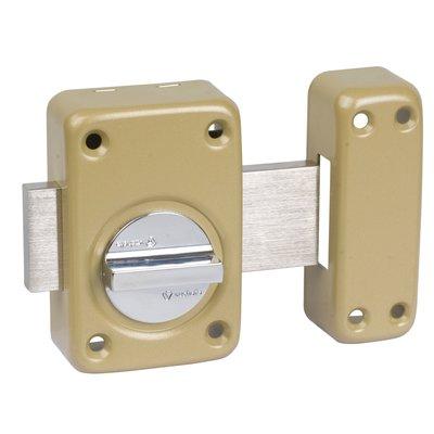 Verrou à bouton bronze s'entrouvrant n° U08935 - Cylindre 40 mm - Pêne 110