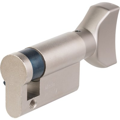 Cylindre F5 Mono-Profil - Avec bouton plat - Nickelé - Longueur 50 mm