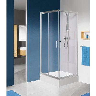 Porte de douche coulissante Tyxo - Accès d'angle - Verre transparent