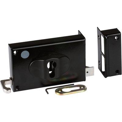 Serrure en applique noire droite à Tirage - Clé I - Axe de 52 à 70 mm - Sér