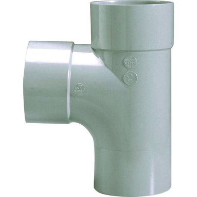 Raccord PVC gris en T - Mâle / femelle - Ø 125 mm - Double emboîtage - Girp