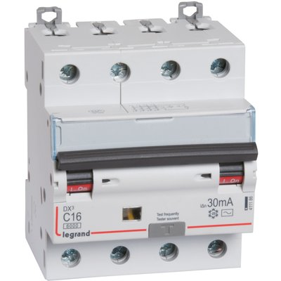 Disjoncteur monobloc DX³ 6000 - 10 kA courbe C - 32 A - Sensibilité 30 mA -