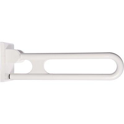 Barre d'appui rabattable blanche - 600 mm - Ø 34 mm - Pied escamotable - No