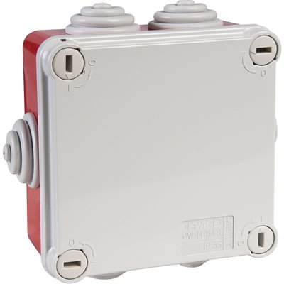 Boîte rouge/grise carrée - 100 mm - 6 embouts à gradins - Couvercle vis 1/4