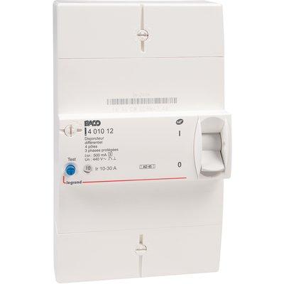 Disjoncteur de branchement tétrapolaire 30 à 60 A - Différentiel 500 mA sél