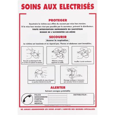 Panneau signalétique de soins aux électrisés