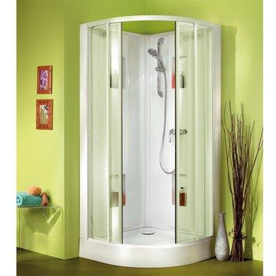 Cabine de douche quart de rond portes coulissantes transparentes - 90 x 90