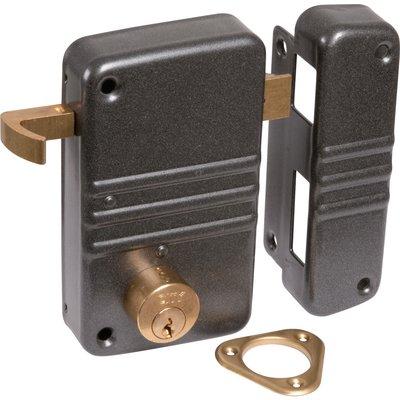 Serrure en applique gris anthracite gauche à tirage - Clé I - Axe à 45 mm -