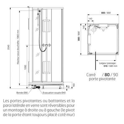 Cabine de douche carrée porte pivotante transparente - 90 x 90 cm - Izi Box