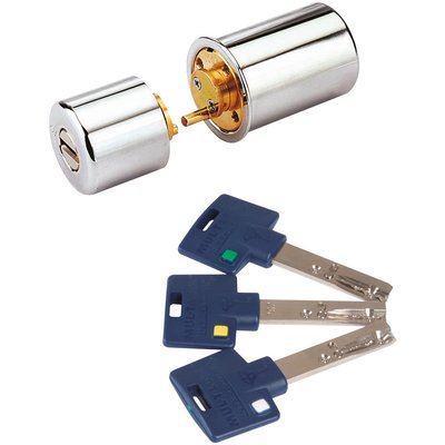 Cylindre rond chromé - 29 x 48 mm - Interactive + - Mul-T-lock