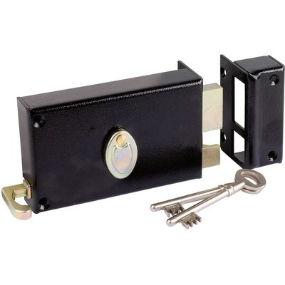 Serrure à gorge en applique noire droite à tirage - Axe à 70 mm - Série 729