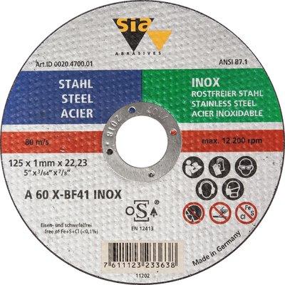 Disque à tronçonner moyeu plat acier et inox - Diamétre 125 mm