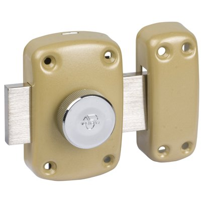 Verrou à bouton bronze - Cylindre 40 mm - Pêne 110 mm - Cyclop - Vachette