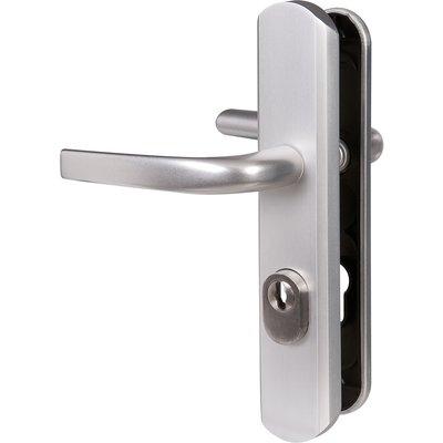 Poignée de porte sur plaque argent - Clé I - Secumax one - Vachette