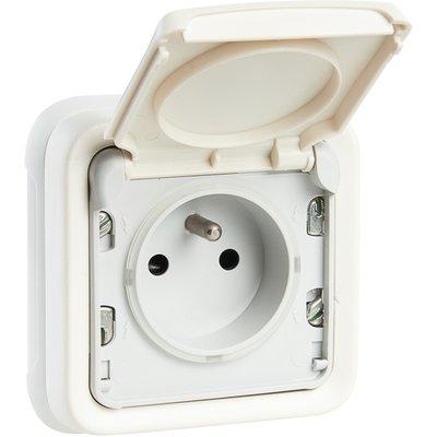 Prise blanche à encastrer - 2P+T - Connexion à bornes automatique - Plexo -