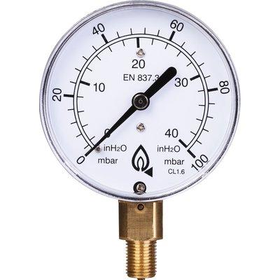 Manomètre gaz radial - 0 à 100 mbar