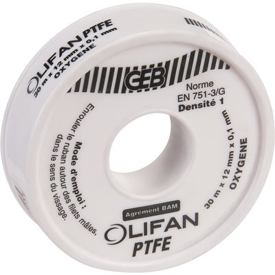 Ruban PTFE - 30 m - 12 x 0,1 mm - Oxygène - Geb