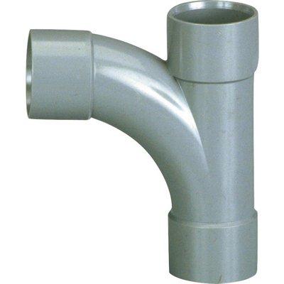 Pied de biche PVC gris 87°30 - Ø 40 mm - Triple emboîture - Girpi