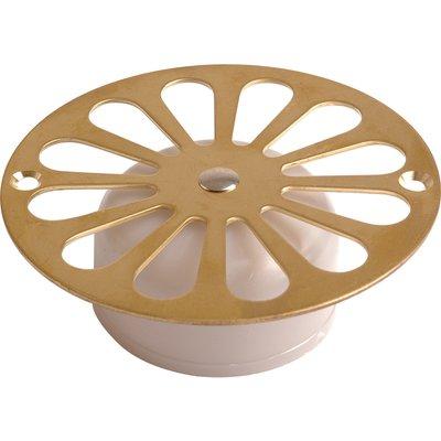 Grille siphon de sol laiton poli - Ø 107 mm