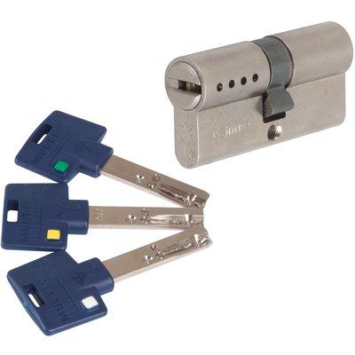 Cylindre 2 entrées varié nickelé - 55 x 45 mm - Interactive + - Mul-T-lock