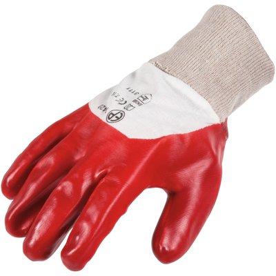 Gant de protection PVC rouge / blanc - Dos aéré - La paire - Eurotechnique