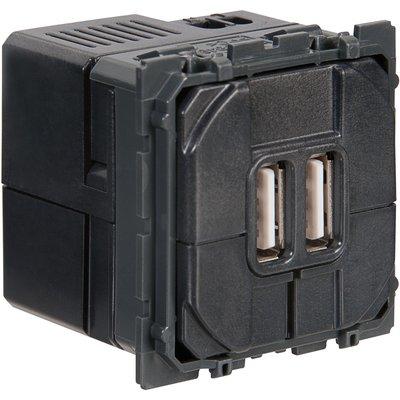Prise noire double chargeur USB - Céliane - Legrand