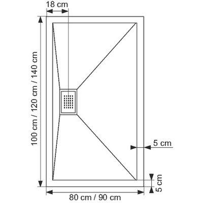 Receveur de douche rectangulaire blanc - 120 x 80 x 8,5 cm - Kinecompact -