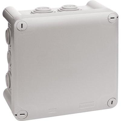 Boîte grise carrée - 130 mm - 10 embouts - Couvercle vis 1/4 de tour - Plex