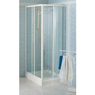 Porte de douche coulissante d'angle verre trempé granité - 4 ventaux - 790