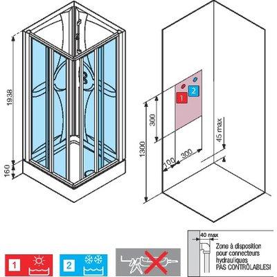 Cabine de douche Média 2.0 - Carrée accès d'angle - Portes coulissantes